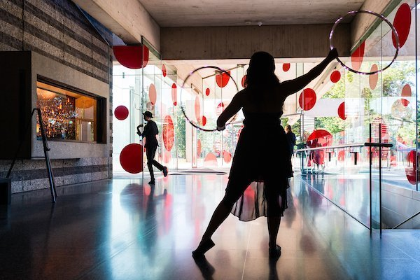 fundraising events cleveland | woman posing around art at the cleveland heart and stroke ball
