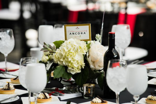 fundraising event at the cleveland museum of art | wine and glasses on a dinner table