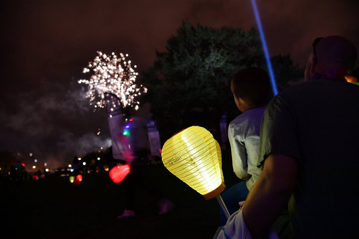 professional event planners cleveland ohio | fireworks and lanterns at the lls light the night event 2018