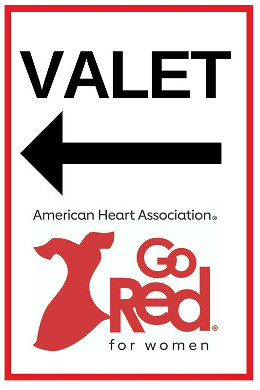 event planning | go red for women valet sign