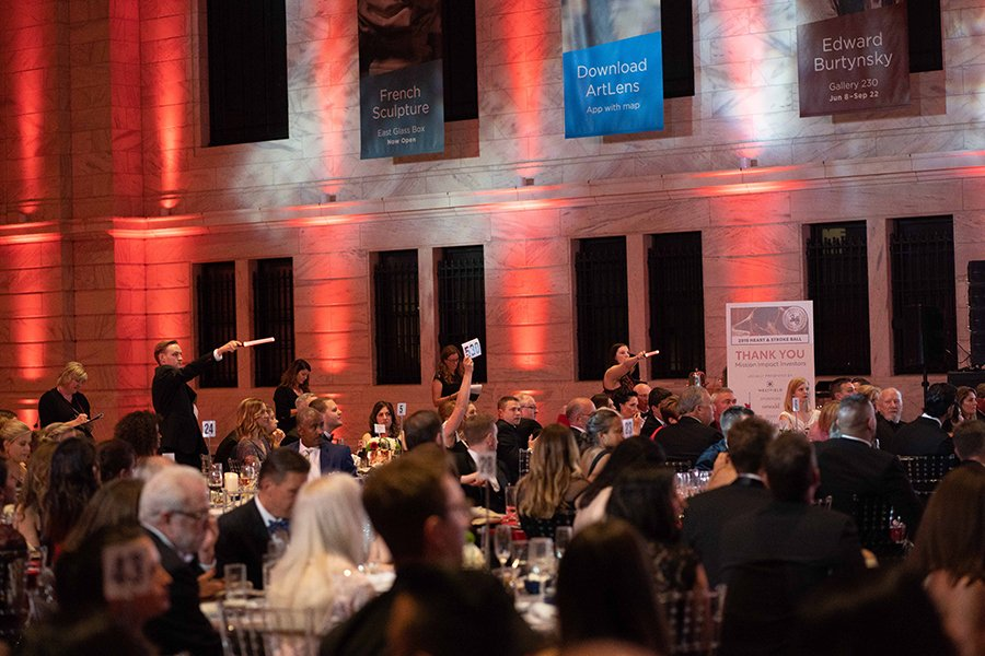combine sports theme with black tie fundraising event | 2019 heart and stroke ball