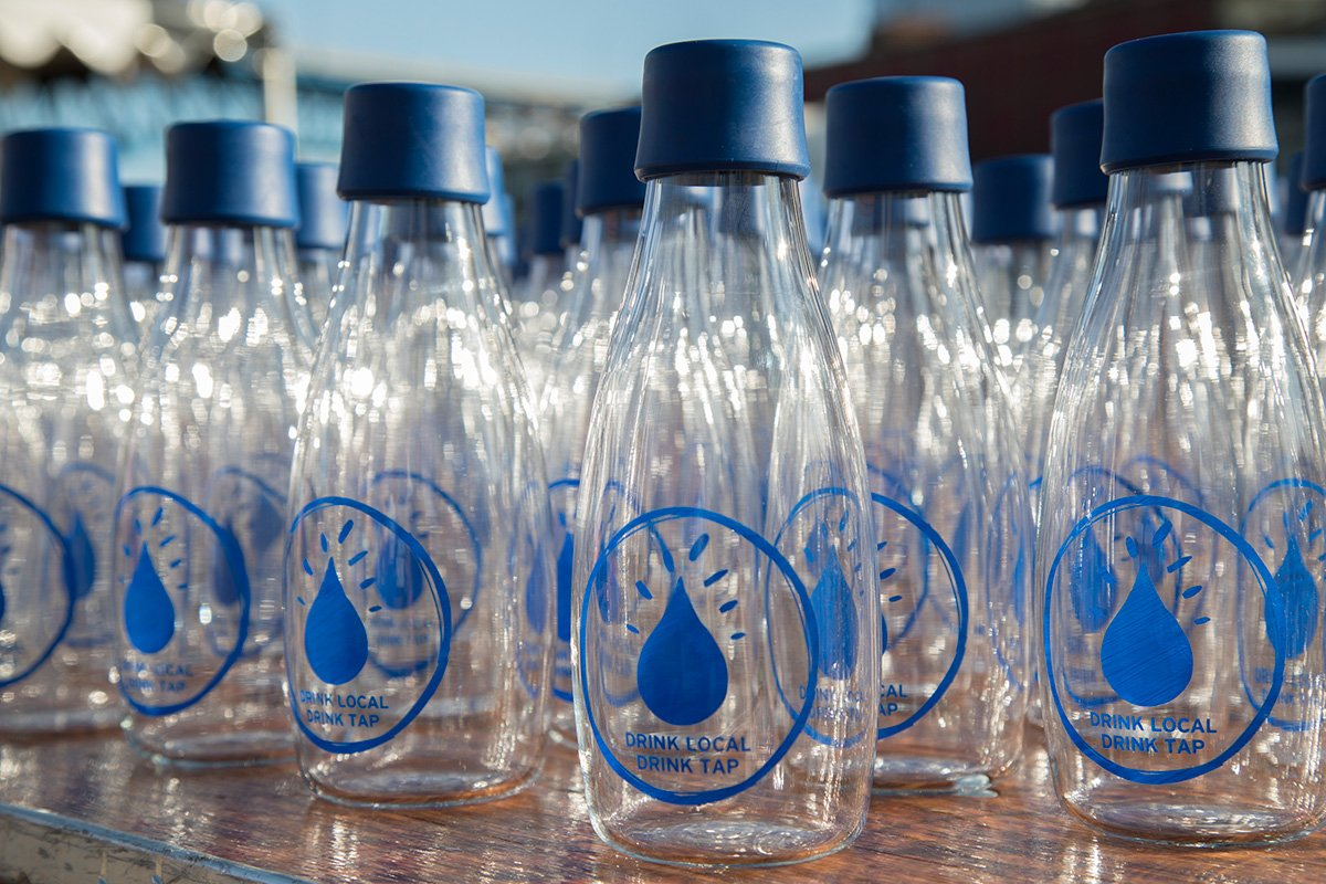 nonprofit event planning | dozens of empty water bottles