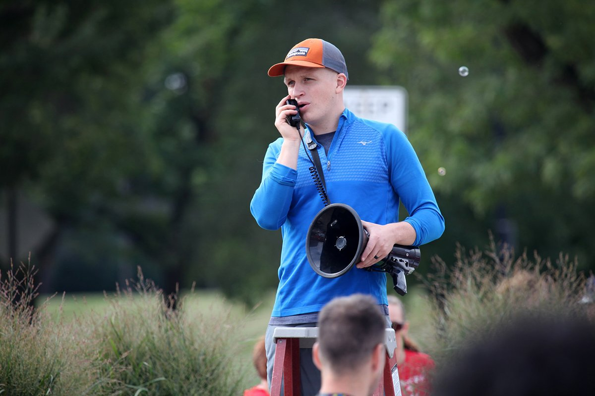 run-walk fundraisers | man talking into a walkie talkie