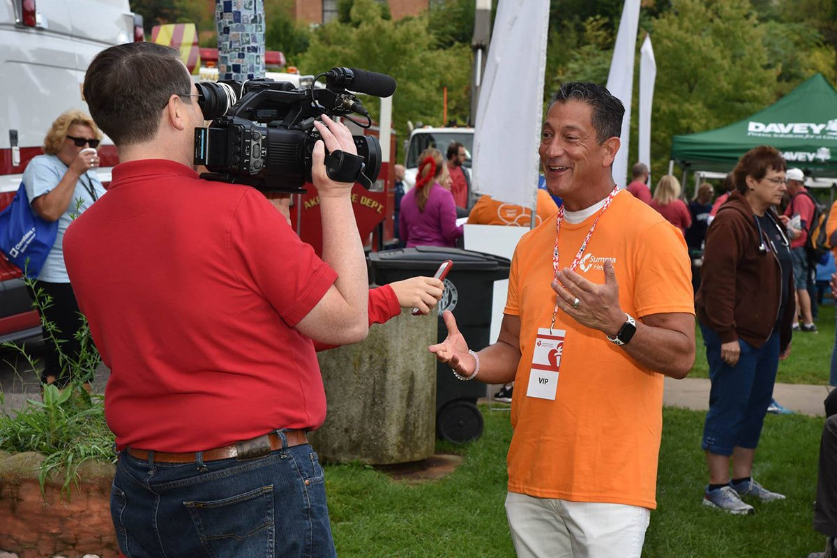 outdoor fundraising event | film crew at the 2019 akron heart walk