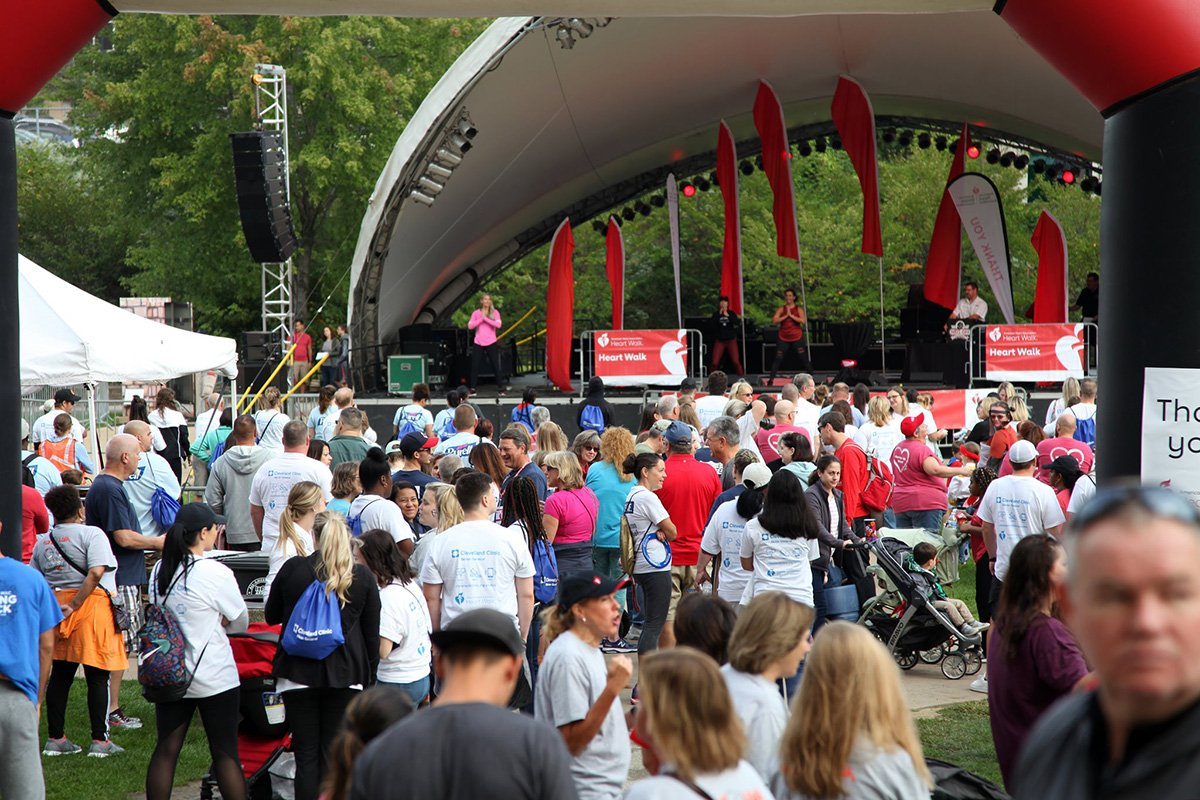 move an indoor event to an outdoor venue | akron heart walk 2019 pavilion with crowd