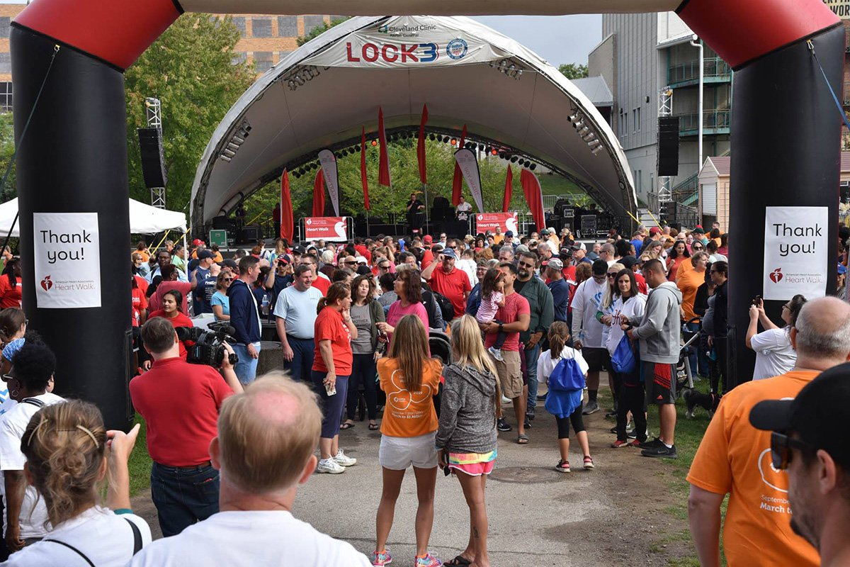 run-walk fundraisers | crowd in front of the akron heart walk stage