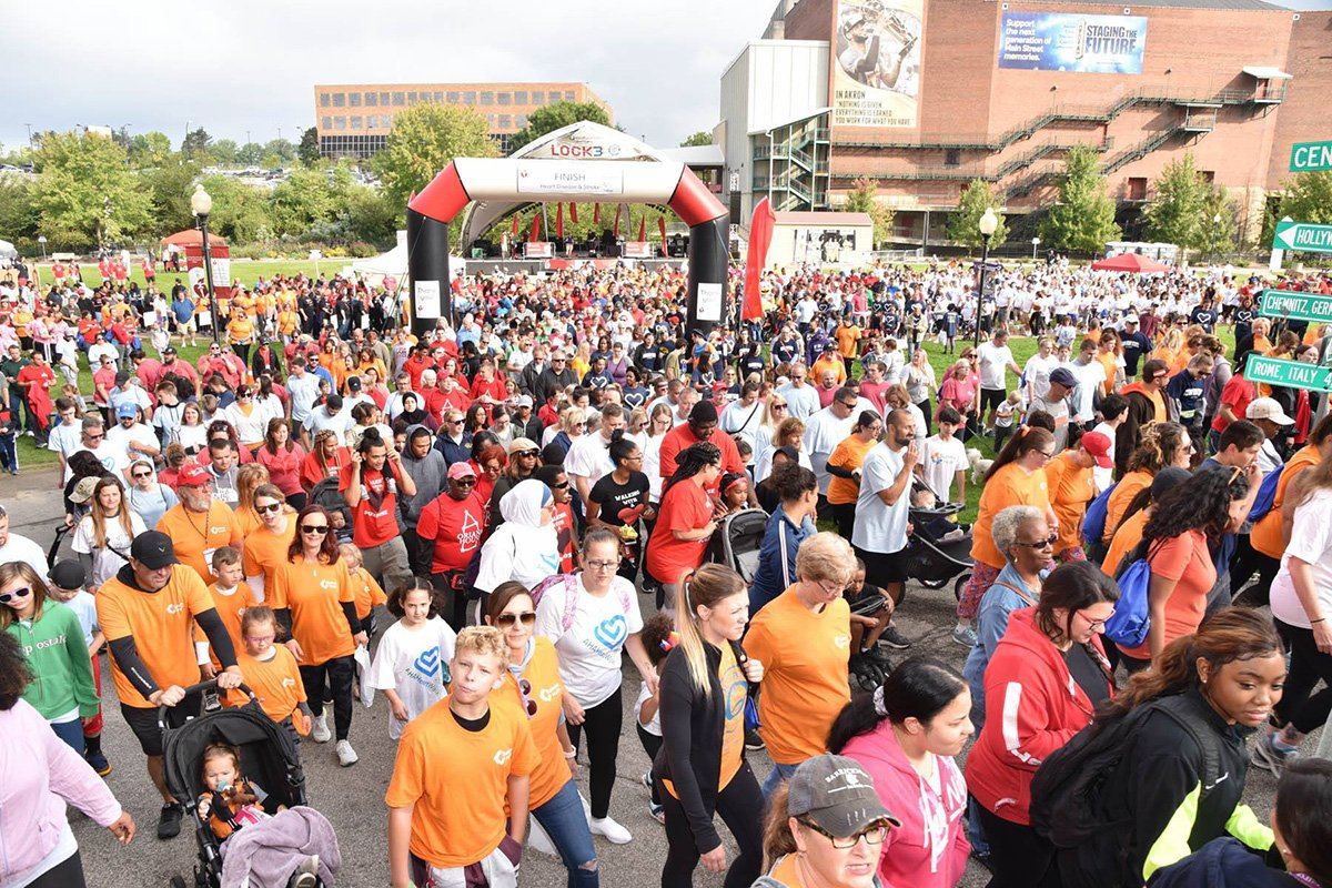 fundraising events akron ohio | crowd of people in front of the akron heart walk stage