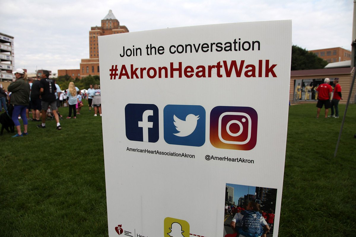 run-walk events akron cleveland | akron heart walk 2019 social media sign