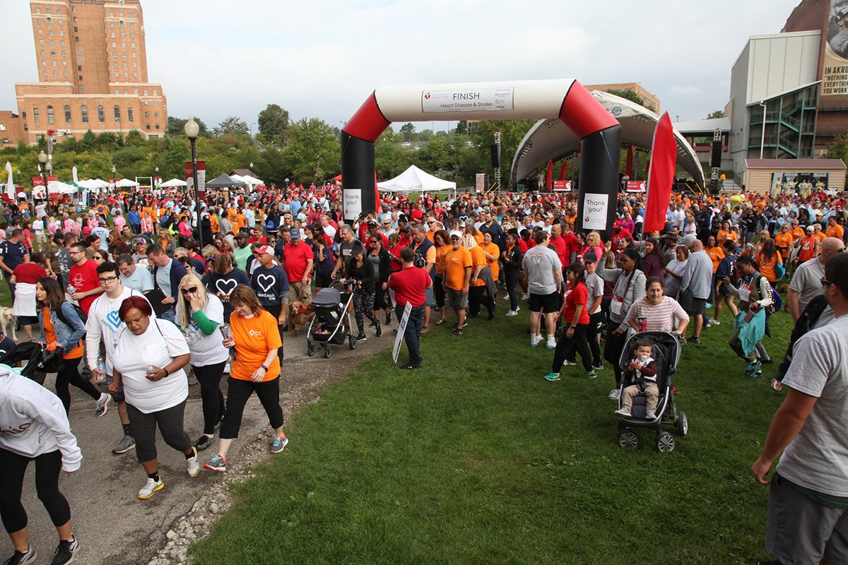 fundraising events akron ohio | people marching at the AHA akron heart walk