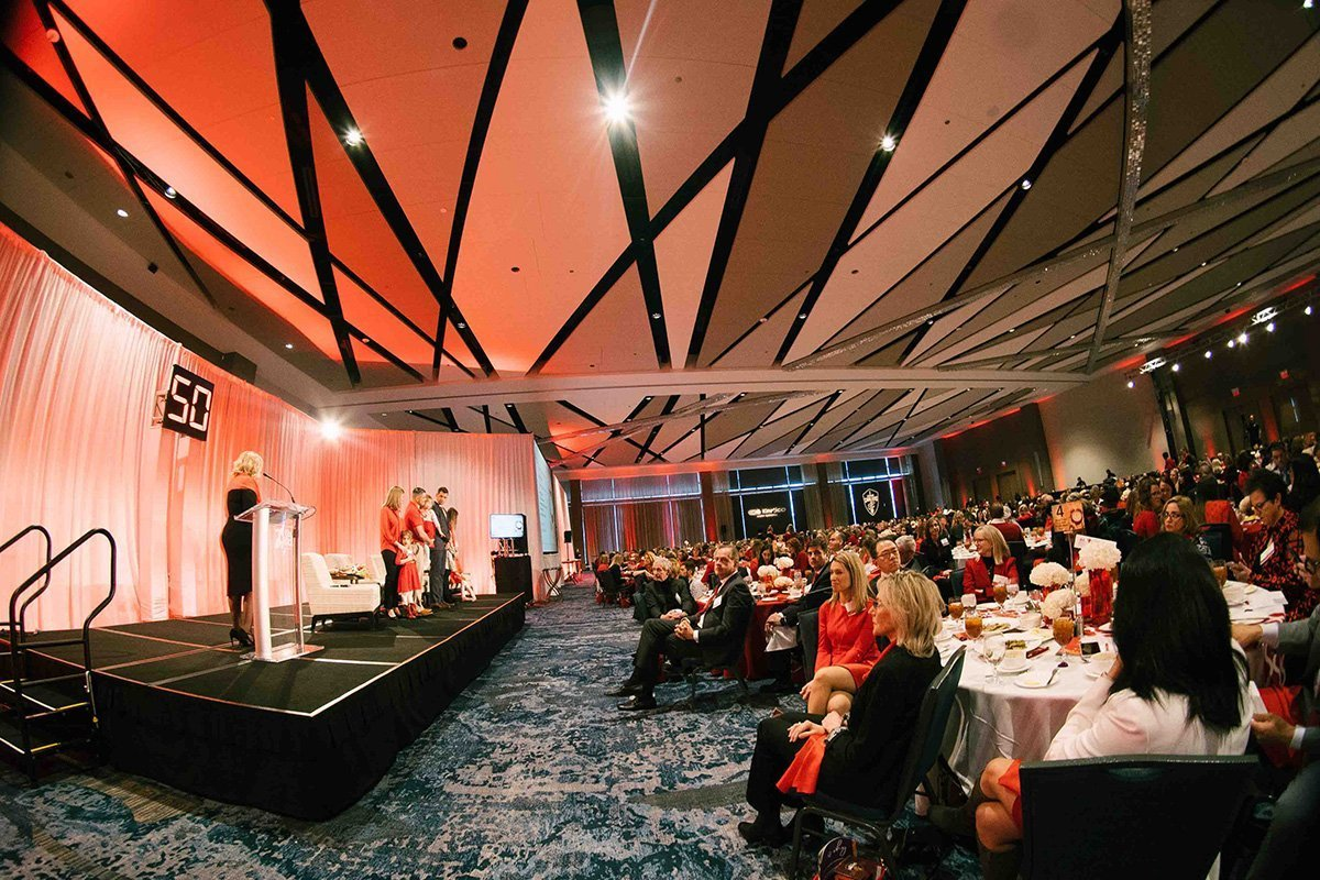 event planning challenges | stage and crowd at the 2019 go red for women luncheon