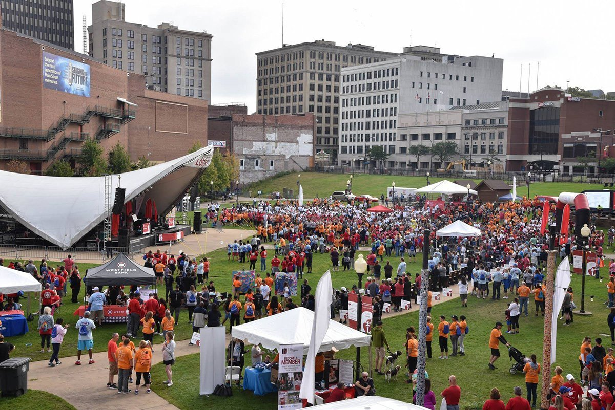 move an indoor event to an outdoor venue | AHA akron heart walk 2019