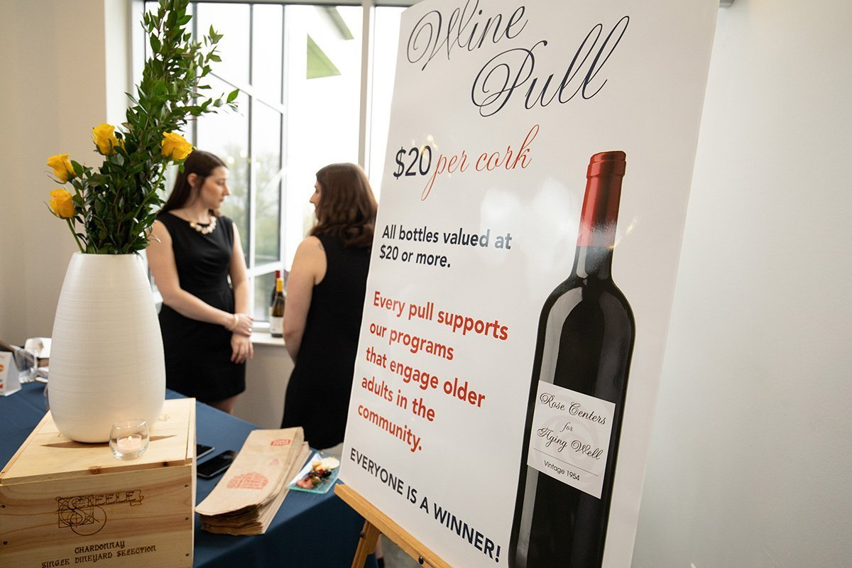 simplifying non-profit events | wine display at a nonprofit event