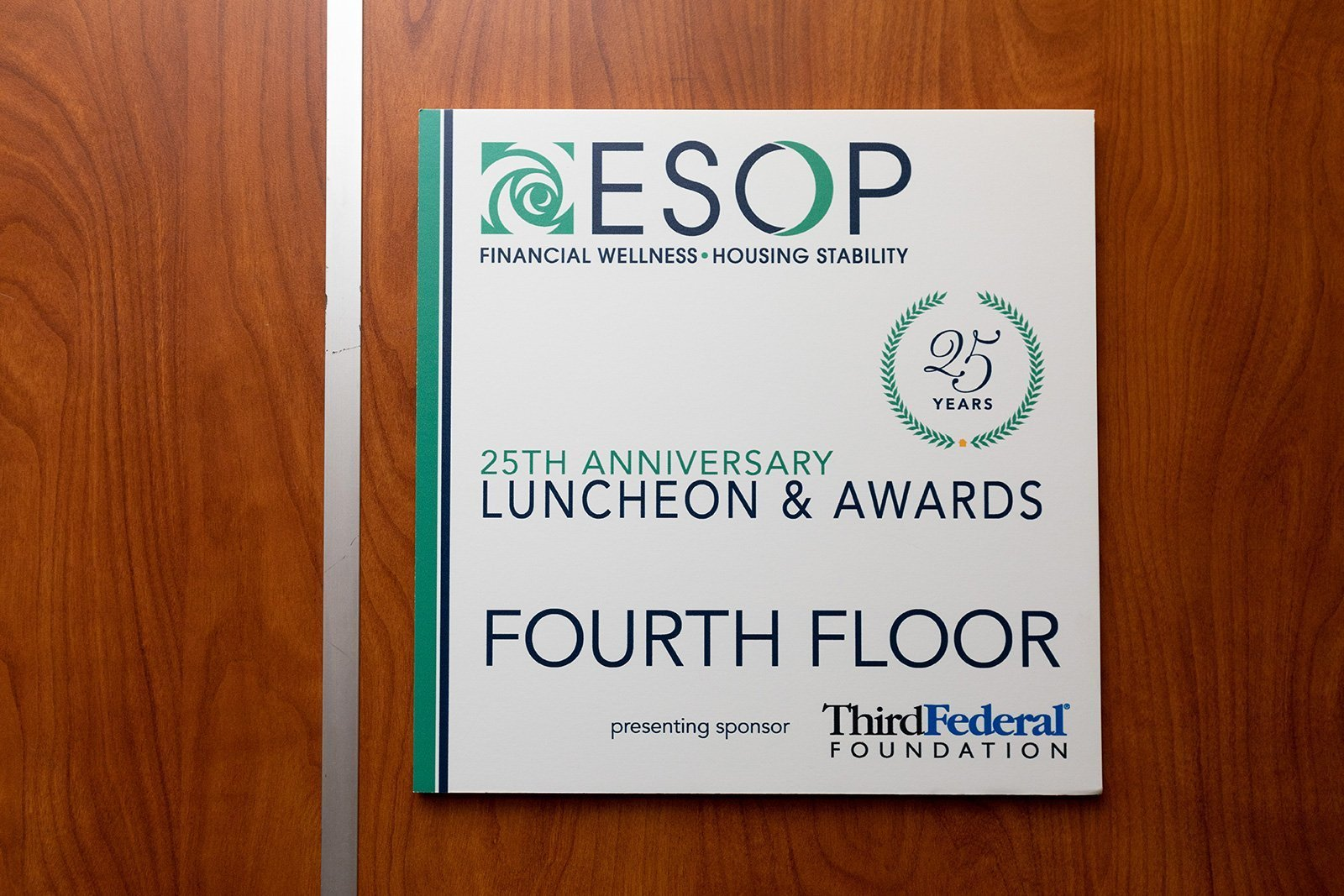 optimize non-profit event outcomes | ESOP luncheon and awards sign
