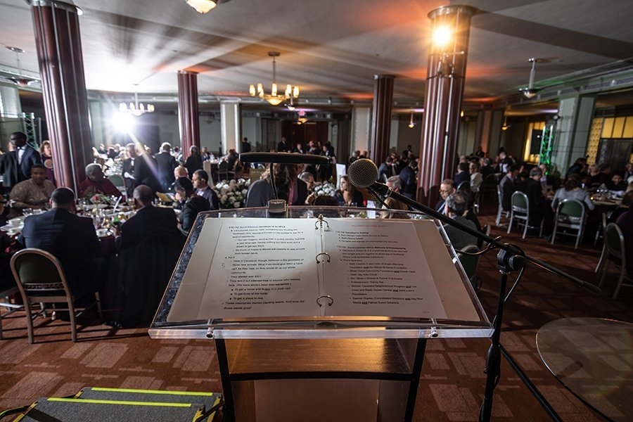 fundraising events cleveland ohio | HFLA party114 speech script on podium