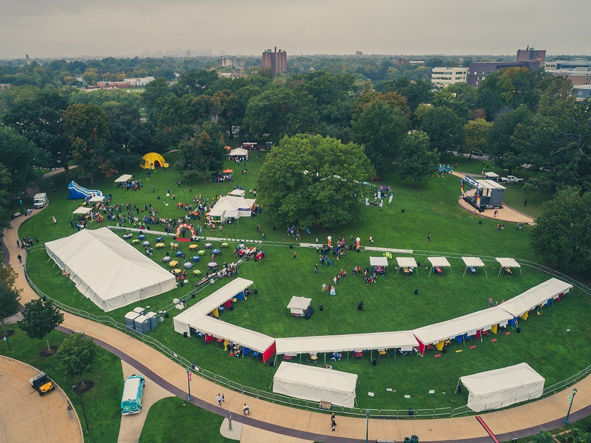 event planners cleveland | light the night park setup pre-event