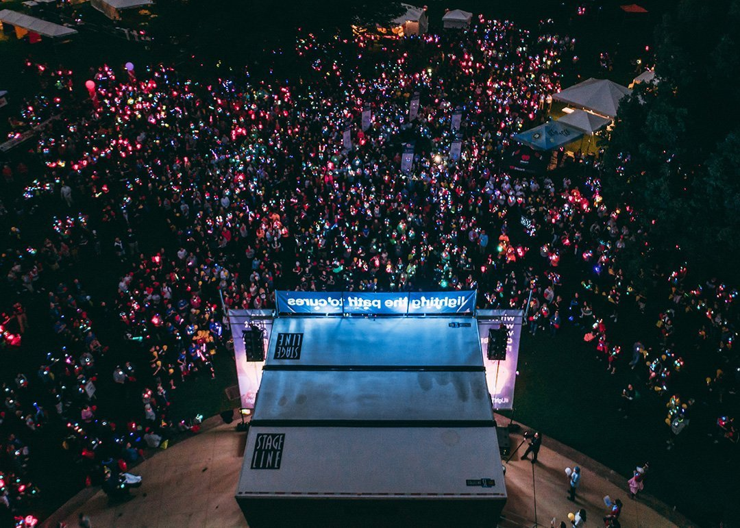 professional event planners near me | light the night crowd with lanterns at night