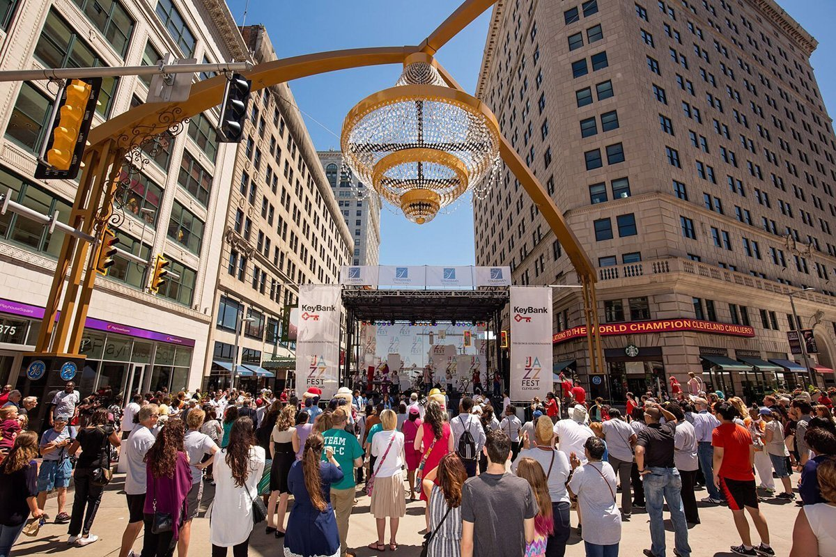 planning an outdoor music festival | outdoor chandelier hanging over crowd in downtown cleveland