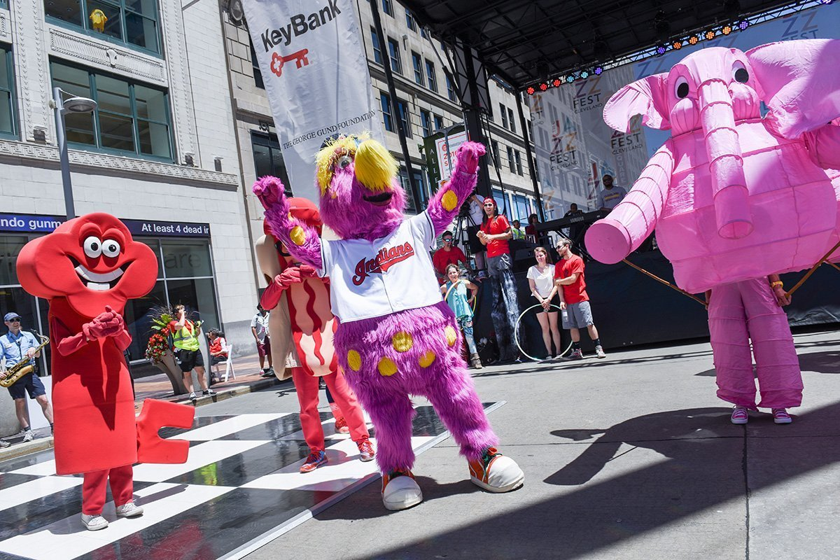 event planning cleveland ohio | slider dancing with mascots at the tri-c jazzfest
