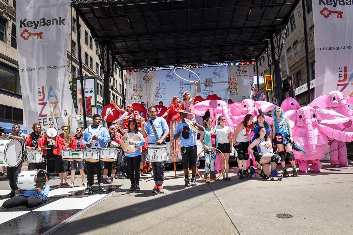 planning an outdoor music festival | tri-c jazzfest mascots and band